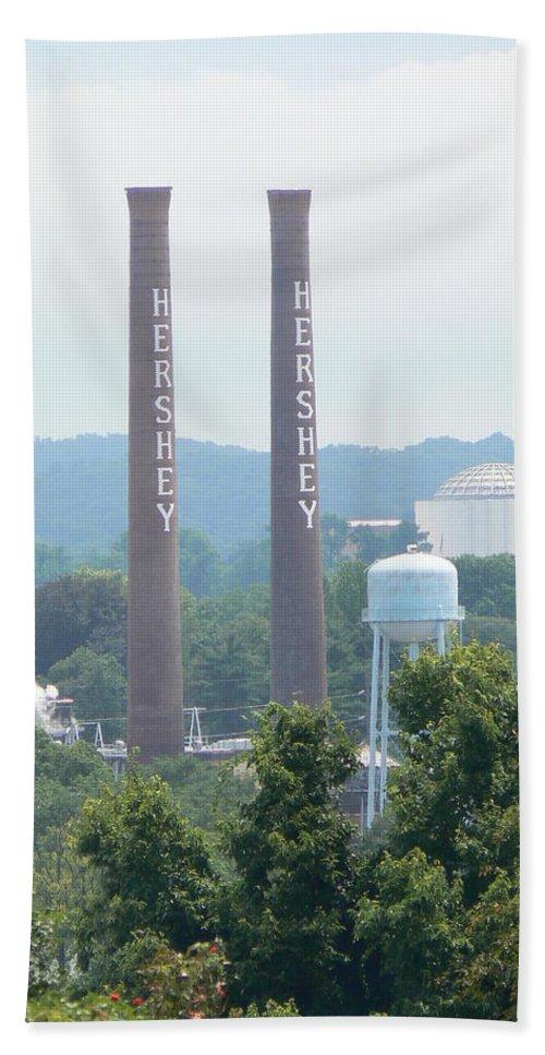 Hershey Hand Towel featuring the photograph Hershey Smoke Stacks by Michael Porchik
