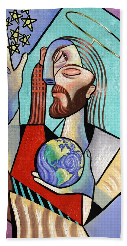 Jesus Bath Sheet featuring the painting Hes Got The Whole World In His Hand by Anthony Falbo