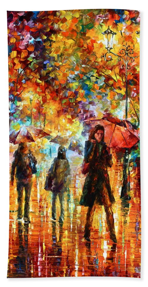 Afremov Bath Sheet featuring the painting Hesitation Of The Rain by Leonid Afremov