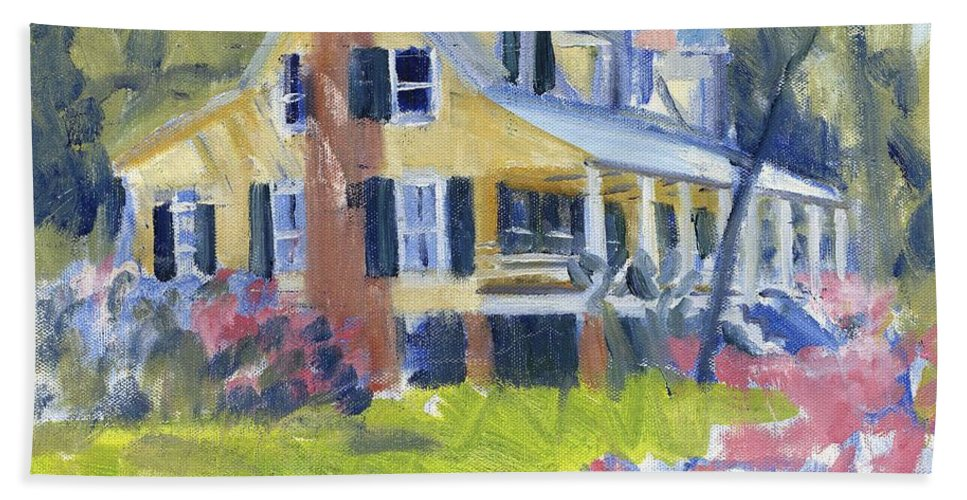 House Hand Towel featuring the painting Heyward House by Candace Lovely