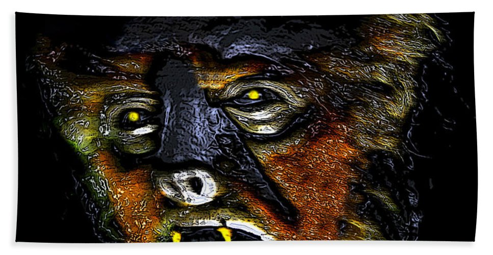 Wolf Man Hand Towel featuring the painting Hh Wolfman Card Style by David Lee Thompson