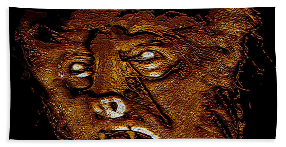 Post Card Hand Towel featuring the painting Hh Wolfman Classic Style by David Lee Thompson