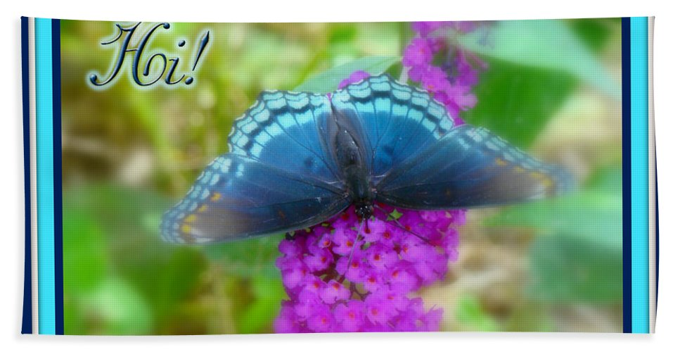 Hi Hand Towel featuring the photograph Hi Hello Greeting Card - Red Spotted Purple Butterfly by Mother Nature