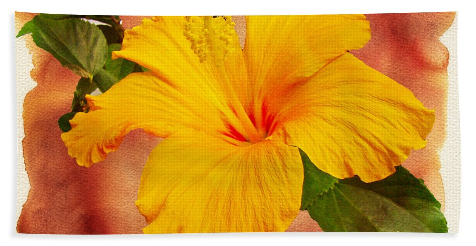 Hibiscus Hand Towel featuring the photograph Hibiscus - Mango Sunshine by Mother Nature
