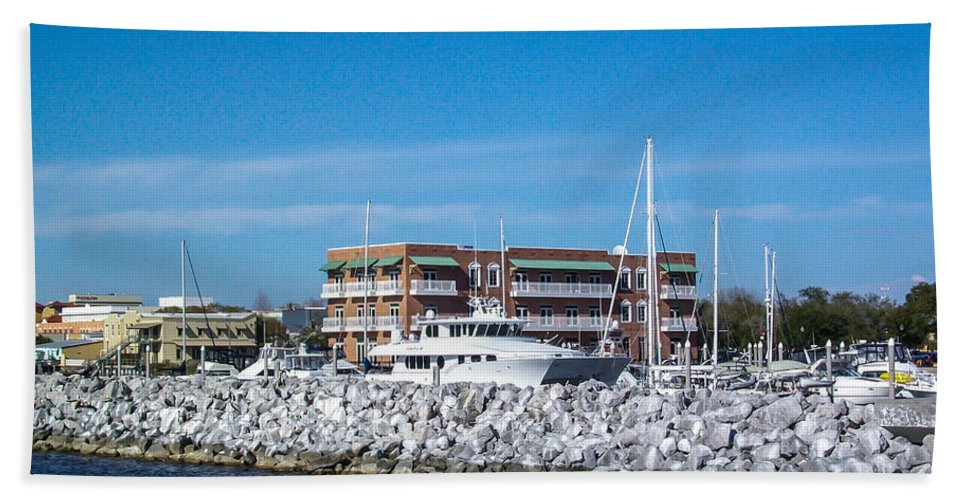 Boats Hand Towel featuring the photograph Hidden Behind The Rocks by Mechala Matthews