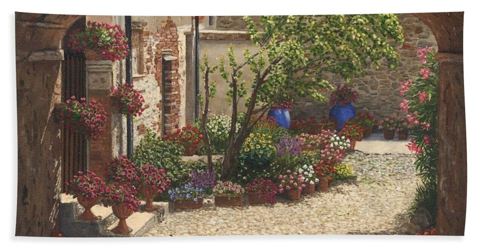 Landscape Bath Towel featuring the painting Hidden Garden Villa Di Camigliano Tuscany by Richard Harpum