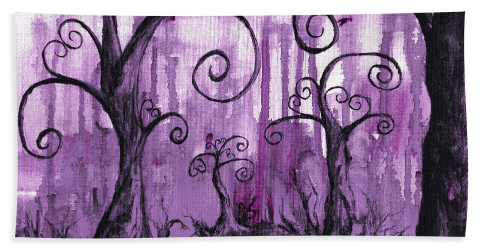 Fantasy+art Hand Towel featuring the painting Hidden Hearts by Leia Sopicki