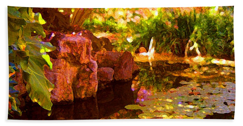 Water Landscape Bath Towel featuring the painting Hidden Pond by Amy Vangsgard