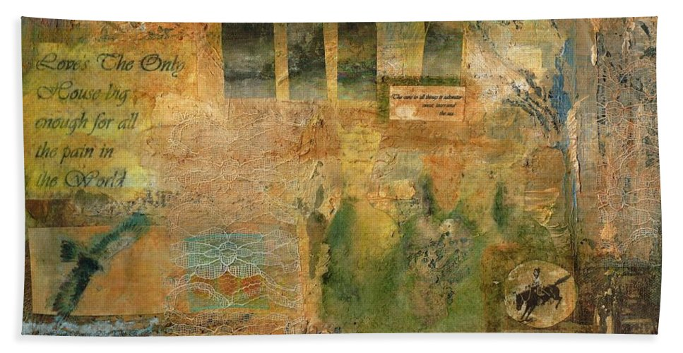Collage Hand Towel featuring the painting Hidden Treasures by Frances Marino