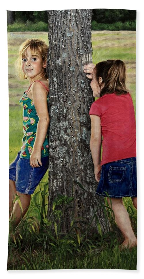 Children Playing Hand Towel featuring the painting Hide And Seek by Glenn Beasley