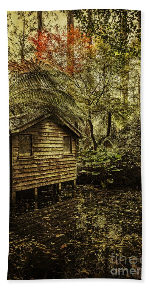 Boathouse Bath Sheet featuring the photograph Hideaway by Andrew Paranavitana