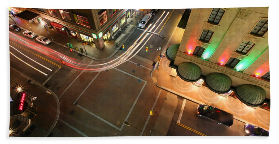 Pittsburgh Pa Pennsylvania Skyline Taaffe Urban Urbanx City City View Bath Sheet featuring the photograph High Above by Jimmy Taaffe