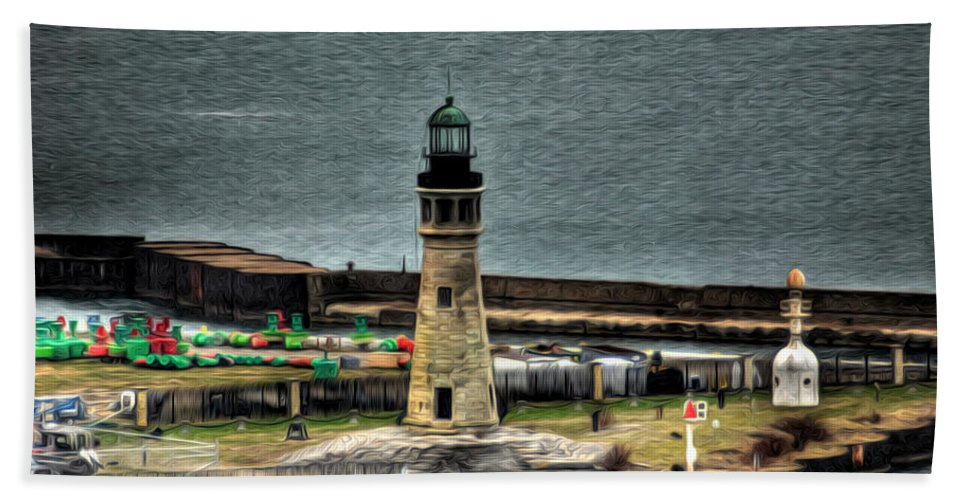 Lighthouse Hand Towel featuring the photograph High Above The Lighthouse by Michael Frank Jr