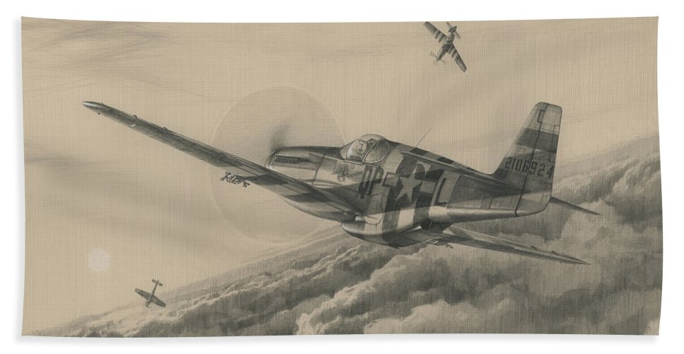 P-51 Mustang Bath Towel featuring the drawing High-angle Snapshot by Wade Meyers