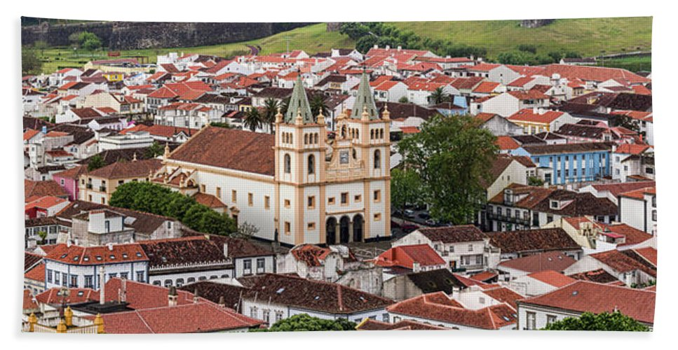 Photography Bath Towel featuring the photograph High Angle View Of Cathedral In A City by Panoramic Images