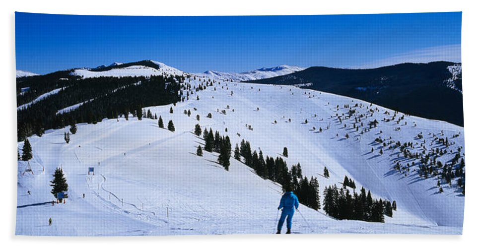 Photography Hand Towel featuring the photograph High Angle View Of Skiers Skiing, Vail by Panoramic Images