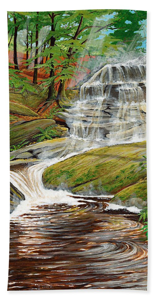 Landscape Hand Towel featuring the painting High Falls by Brigitte Meskey