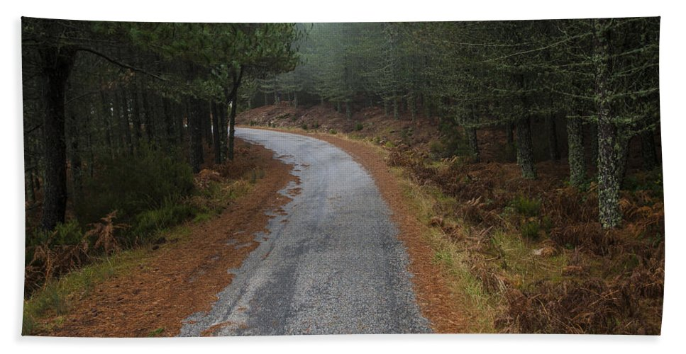 Portugal Bath Sheet featuring the photograph High Mountain Road by Jose Bispo