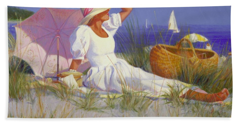 Impressionist Hand Towel featuring the painting High On A Dune by Candace Lovely