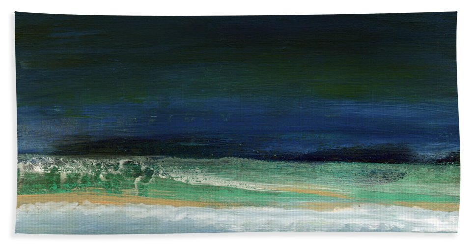 Ocean Bath Towel featuring the painting High Tide- Abstract Beachscape Painting by Linda Woods