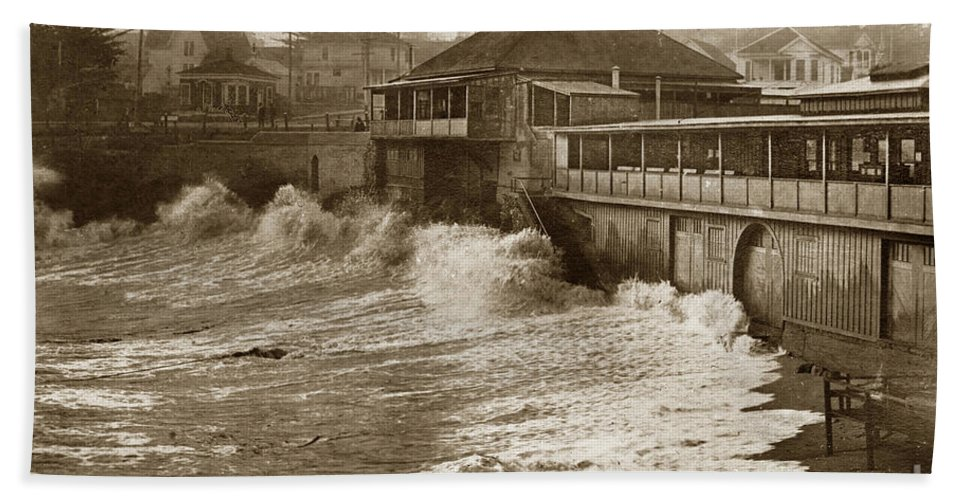 High Bath Sheet featuring the photograph High Tide And Big Waves At Lovers Point Beach Pacific Grove California Circa 1907 by California Views Mr Pat Hathaway Archives