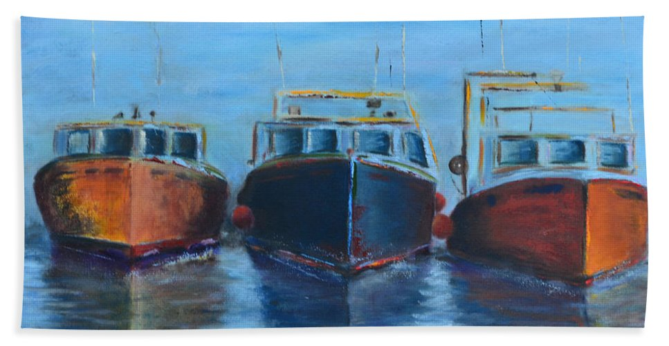 High Tide Breton Harbor Boat Black Yellow Red Ocean Sea Craft Ship Fishing Three Float Travel Sky Seascape Clouds Move Speed Journey Movement Motion Wave Blue Hand Towel featuring the painting High Tide Breton Harbor by Patricia Caldwell