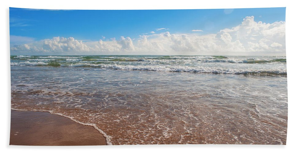 Southpadre Island Bath Sheet featuring the photograph High Tide In South Padre by Gabriel G Medina