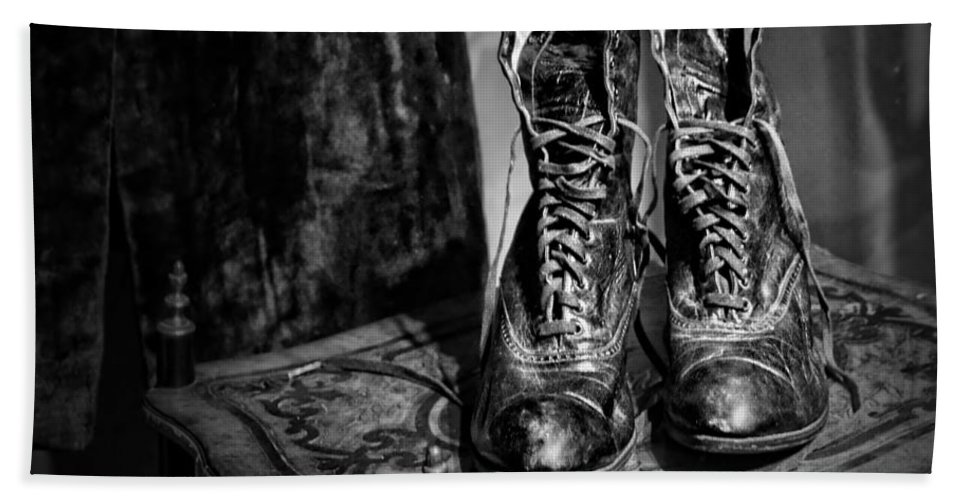 Vintage Bath Sheet featuring the photograph High Top Shoes - Bw by Nikolyn McDonald