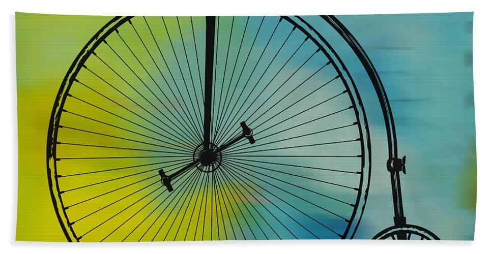High Wheel Bicycle Hand Towel featuring the digital art High Wheel Bicycle by Marvin Blaine