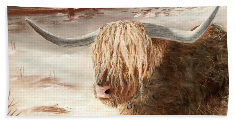 Countryside Hand Towel featuring the painting Highland Bull by Anastasiya Malakhova