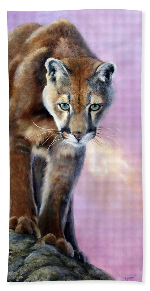 Cougar Bath Sheet featuring the painting High Point Advantage by Pamela Bergen