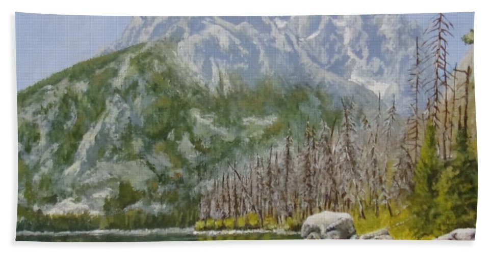 Landscape Bath Towel featuring the painting Highwater Pines by Michael Dillon