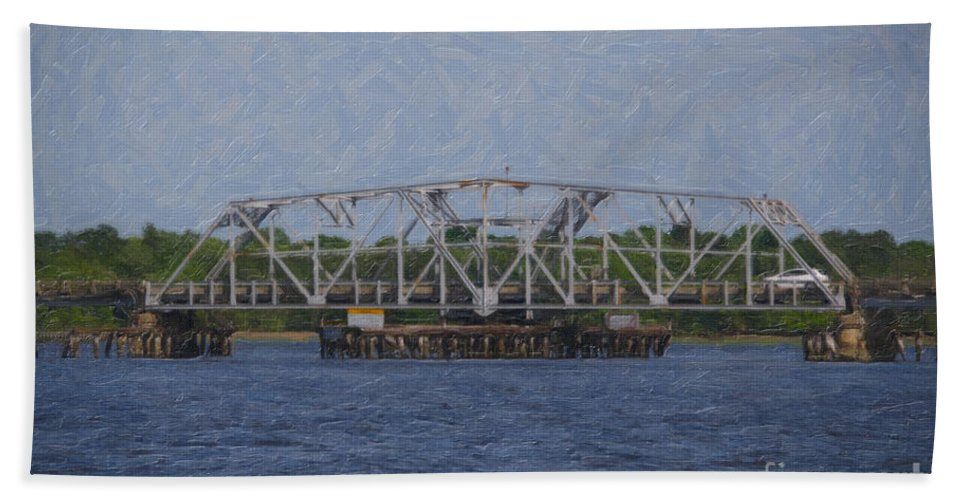 Bridge Hand Towel featuring the digital art Highway 41 Swing Bridge Over The Wando River by Dale Powell