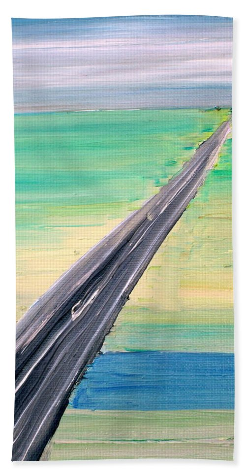 Highway Hand Towel featuring the painting Highway by Fabrizio Cassetta