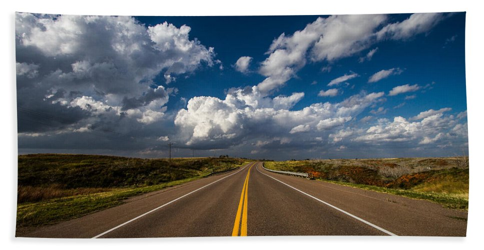 Oklahoma Hand Towel featuring the photograph Highway Life - Blue Sky Down The Road In Oklahoma by Southern Plains Photography