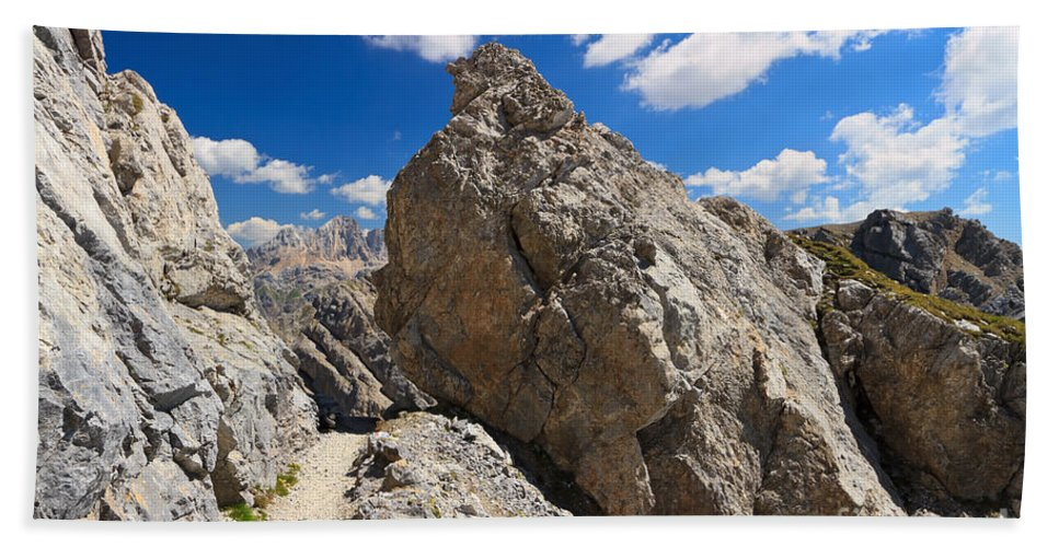 Alpine Hand Towel featuring the photograph hike in Dolomites by Antonio Scarpi