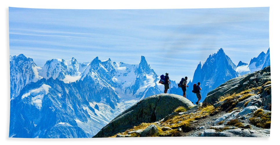 Alps Bath Sheet featuring the photograph Hiking Above Chamonix On The Lac Blanc Trail by Jeff Black