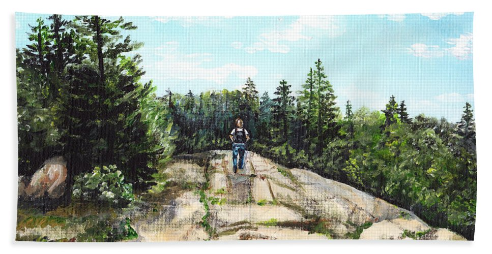 Acadia Hand Towel featuring the painting Hiking In Maine by Shana Rowe Jackson
