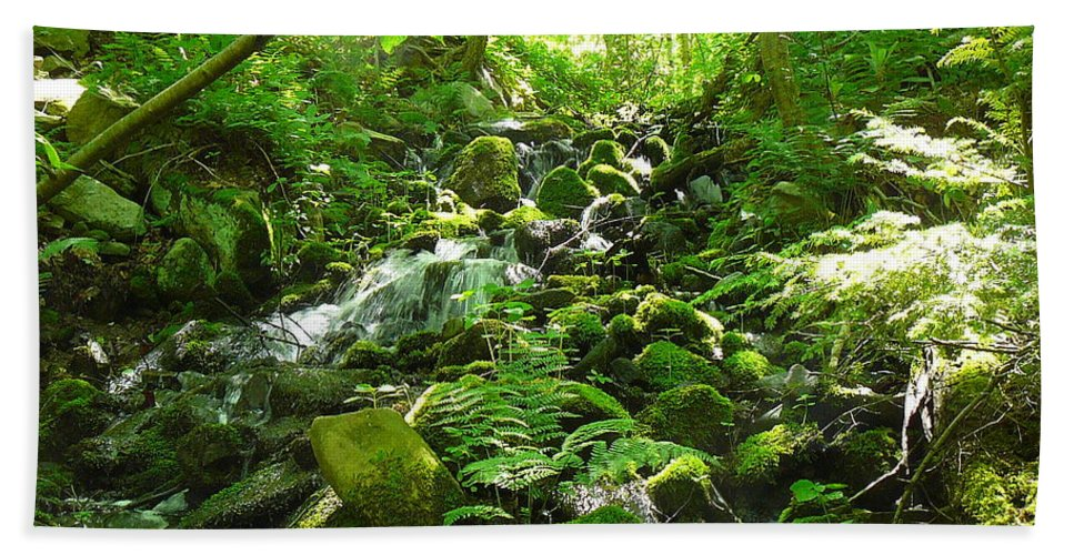 Pocono Bath Sheet featuring the photograph Hiking The Falls by Two Bridges North