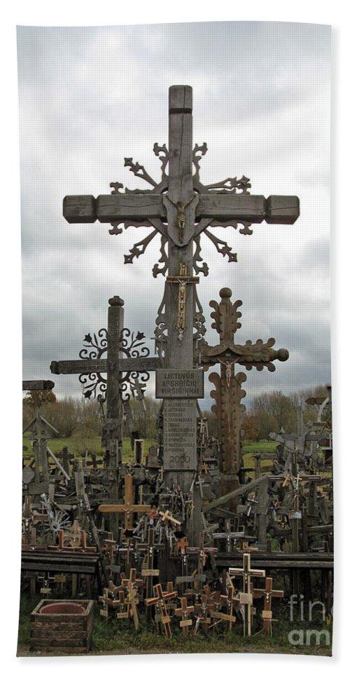 Lithuania Bath Sheet featuring the photograph Hill Of Crosses 06. Lithuania. by Ausra Huntington nee Paulauskaite