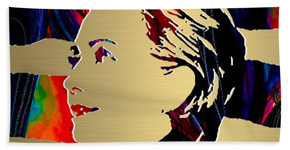 Hillary Clinton Paintings Mixed Media Bath Sheet featuring the mixed media Hillary Clinton Gold Series by Marvin Blaine