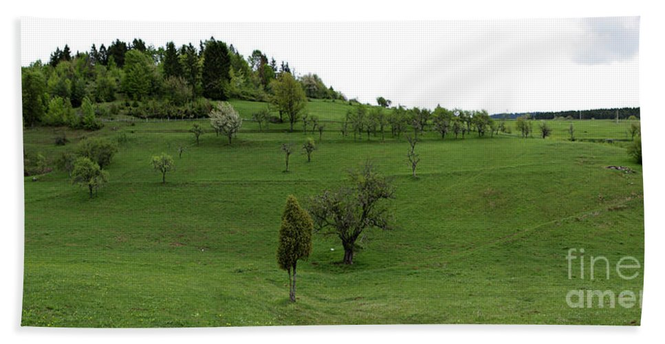 Agriculture Hand Towel featuring the photograph Hills And Fields by Zoran Berdjan