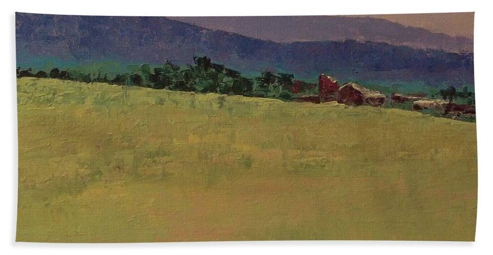 Pantone 2017 Greenery Bath Sheet featuring the painting Hilltop Farm by Gail Kent
