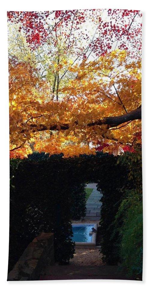 Hillwood Mansion Bath Sheet featuring the photograph Hillwood Mansion Fall Garden by Lois Ivancin Tavaf
