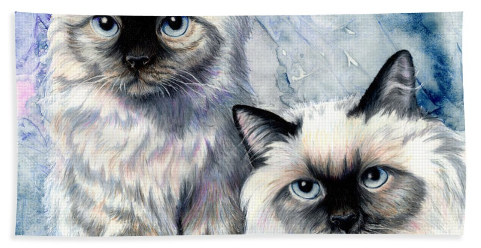 Cat Hand Towel featuring the painting Himalayan Duo by Sherry Shipley