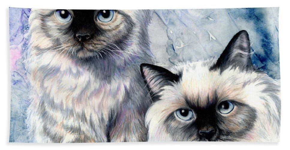 Cat Bath Sheet featuring the painting Himalayan Duo by Sherry Shipley