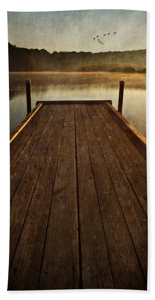 Sunrise Bath Sheet featuring the photograph Hinckley Lake Sunrise by Dale Kincaid