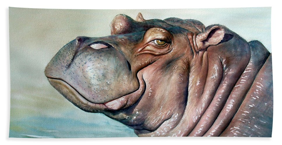 Hippo Hand Towel featuring the painting Hippo Lisa by Joey Nash