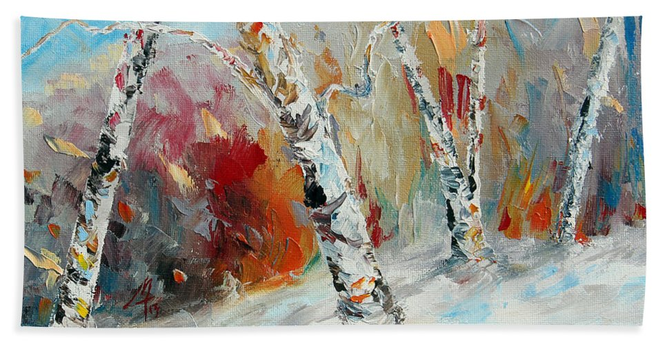 Landscape Hand Towel featuring the painting His Time by Meaghan Troup