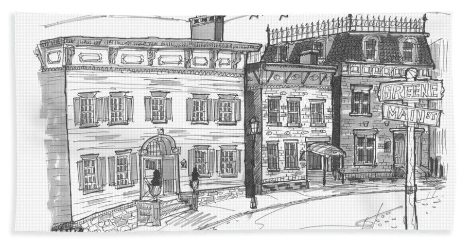 Catskill Hand Towel featuring the drawing Historic Catskill Street by Richard Wambach